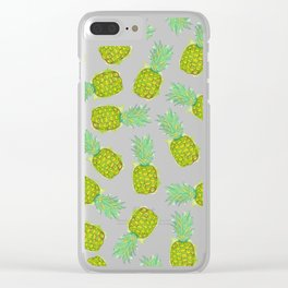 Tropical Summer Yellow Green Pineapples Fruit Clear iPhone Case