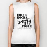 chuck Biker Tanks featuring Chuck rocks by Badgerlord Studios