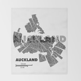 Auckland Map Throw Blanket