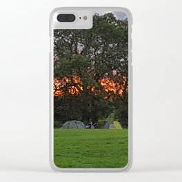 Camping at sunset Clear iPhone Case