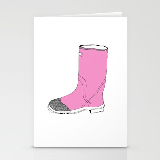 Whimisical Wellie in Pink Stationery Cards
