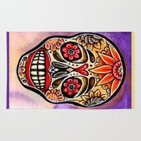 sugar skulls Area & Throw Rugs featuring Sugar Skulls by Art Magic by Jennifer Elizabeth