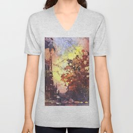 Watercolor painting of Duke Chapel- Durham, North Carolina (USA). Unisex V-Neck