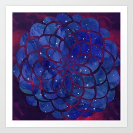Starry Night Flower Nebula Art Print