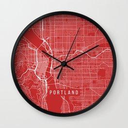 Portland Map, USA - Red Wall Clock