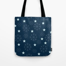 Snowflakes and stars - blue Tote Bag