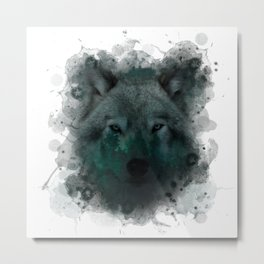 Abstract Wolf Forest Landscape  Metal Print
