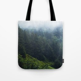 Oregon forest, foggy forest, oregon coast, green forest, nature, moody forest, moody landscape Tote Bag