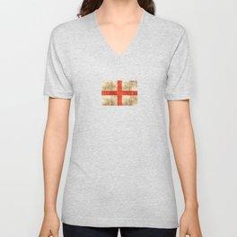 Vintage Aged and Scratched English Flag Unisex V-Neck