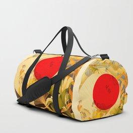 Japanese Ginkgo Hand Fan Vintage Illustration Duffle Bag