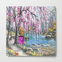 Tardis Art Cherry Blossom River Painting Metal Print