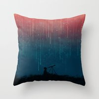 red Throw Pillows featuring Meteor rain by Picomodi