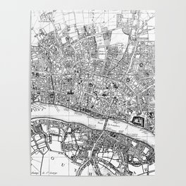 Vintage Map of London England (1727) BW Poster