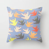 sloths Throw Pillows featuring Print with sloths by Darish
