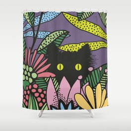 Cat in the Garden playing Hide and Seek Shower Curtain