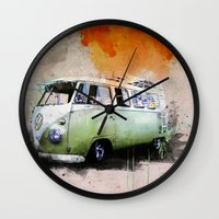 volkswagen Wall Clocks featuring vintage volkswagen by d.ts