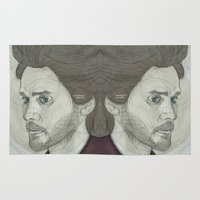 jared leto Area & Throw Rugs featuring circlefaces by Mike Lee