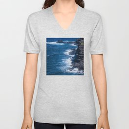 Heavenly Hawaiian Tropical Coast From A Helicopter Unisex V-Neck