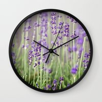 lavender Wall Clocks featuring Lavender by A Wandering Soul