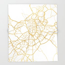 MADRID SPAIN CITY STREET MAP ART Throw Blanket