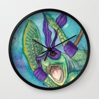 ninja turtle Wall Clocks featuring Chad the Ninja Sea Turtle Wannabe by Weasels on Easels