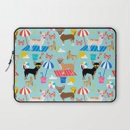 Miniature Doberman Pinscher dog beach day summer fun dog lover min pin Laptop Sleeve