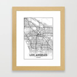 Minimal City Maps - Map Of Los Angeles, California, United States Framed Art Print