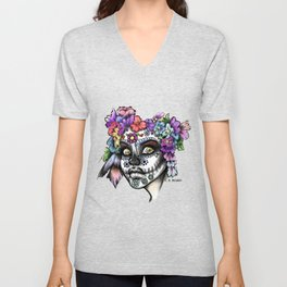Sugar Skull Girl Unisex V-Neck