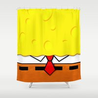 spongebob Shower Curtains featuring Spongebob  by Andrian Kembara