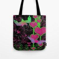 kingdom hearts Tote Bags featuring Kingdom Stars Hearts by KingdomStarsClothing