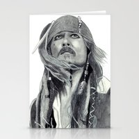 jack sparrow Stationery Cards featuring Jack Sparrow - Bring Me That Horizon by Art by Cathrine Gressum