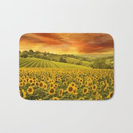 Red sunset over the rolling sunflowers and sunflower fields of Tuscany, Italy Bath Mat