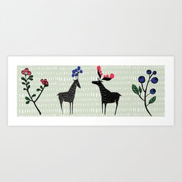 Berry loving deers on a green background Art Print