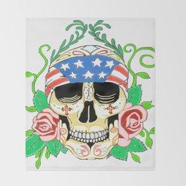 Biker Sugar Skull Throw Blanket