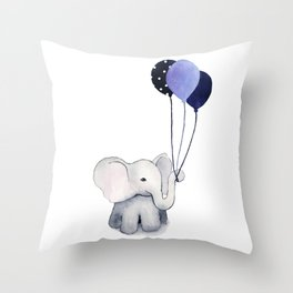 Elephant with Balloons Throw Pillow