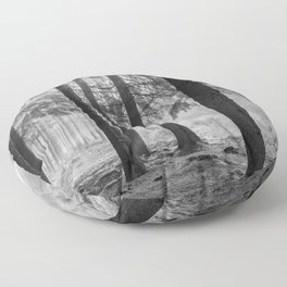 Black and white contrast forest - North Kessock, Highlands, Scotland Floor Pillow