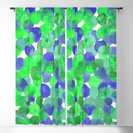 Watercolour Circles- Green and Blue Palette Blackout Curtain