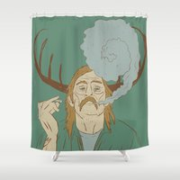 true detective Shower Curtains featuring Rust Cohle - True Detective by Soup & Sausage