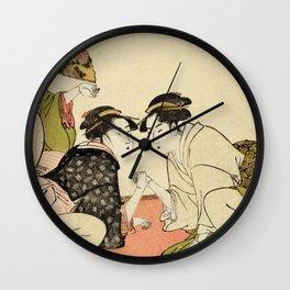 Arm wrestling between two beauties by Kitagawa Utamaro, 1793 Wall Clock