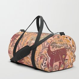 Deer & Doe in Woodland Fern Forest , Cute Stag meets his Love hidden among the Plants Duffle Bag