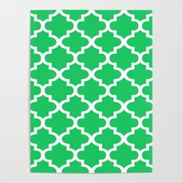Arabesque Architecture Pattern In Zen Green Poster