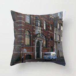 The blue van London england Throw Pillow