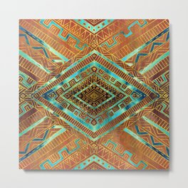 Tribal  Ethnic Boho Pattern burnt orange and gold Metal Print