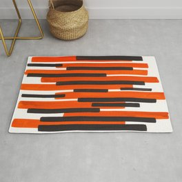 Orange Primitive Stripes Mid Century Modern Minimalist Watercolor Gouache Painting Colorful Stripes Rug