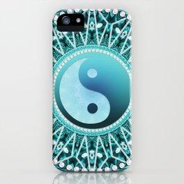 Tranquility Yin Yang Blue Aqua Mandala iPhone Case
