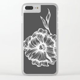 two white ink flowers Clear iPhone Case