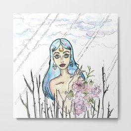 Freaky Flower girl Metal Print