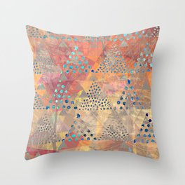TRIANGLES DOTS LEAVES PATTERN-2 Throw Pillow