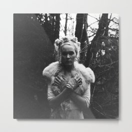 Annie Montgomery in the Woods - Black and White Fashion Photograph Metal Print