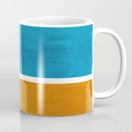 Rothko Minimalist Mid Century Modern Vintage Colorful Pop Art Colorfields Dark Teal Yellow Ochre Coffee Mug